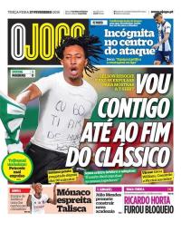 capa Jornal O Jogo de 27 fevereiro 2018