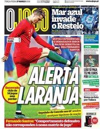 capa Jornal O Jogo de 27 março 2018