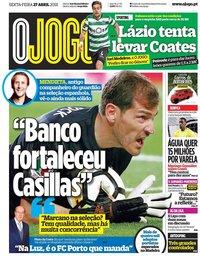 capa Jornal O Jogo de 27 abril 2018
