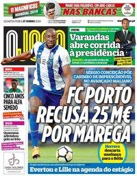 capa Jornal O Jogo de 27 junho 2018