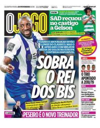 capa Jornal O Jogo de 28 fevereiro 2018
