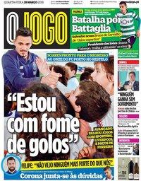 capa Jornal O Jogo de 28 março 2018