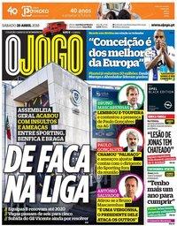 capa Jornal O Jogo de 28 abril 2018