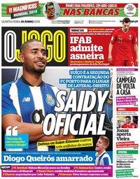 capa Jornal O Jogo de 28 junho 2018