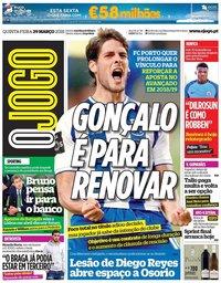 capa Jornal O Jogo de 29 março 2018