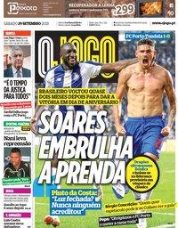 capa Jornal O Jogo de 29 setembro 2018
