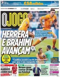 capa Jornal O Jogo de 30 março 2018