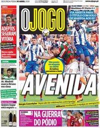 capa Jornal O Jogo de 30 abril 2018