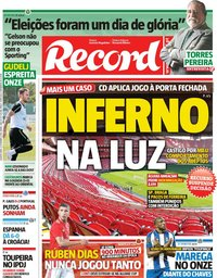capa Jornal Record de 12 setembro 2018