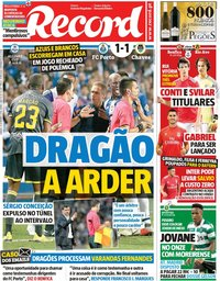 capa Jornal Record de 15 setembro 2018