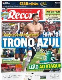 capa Jornal Record de 16 abril 2018