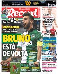 capa Jornal Record de 17 setembro 2018