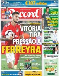 capa Jornal Record de 21 agosto 2018