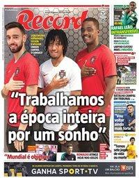 capa Jornal Record de 23 março 2018