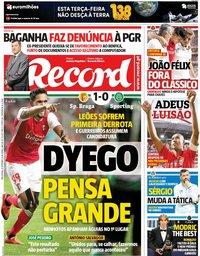 capa Jornal Record de 25 setembro 2018