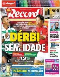 capa Jornal Record de 26 agosto 2018