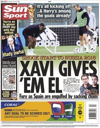 capa Jornal Sun Sport de 14 junho 2018