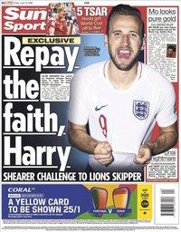 capa Jornal Sun Sport de 15 junho 2018