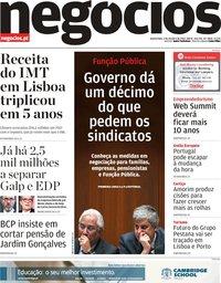 capa Jornal de Negócios de 3 outubro 2018
