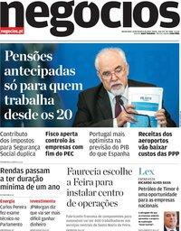 capa Jornal de Negócios de 18 outubro 2018