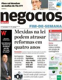 capa Jornal de Negócios de 19 outubro 2018