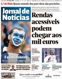 capa Jornal de Notícias de 1 maio 2018