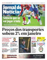 capa Jornal de Notícias de 1 dezembro 2017