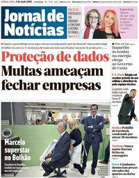 capa Jornal de Notícias de 3 maio 2018