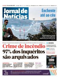 capa Jornal de Notícias de 3 setembro 2017