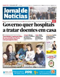 capa Jornal de Notícias de 4 dezembro 2017