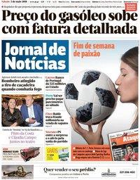 capa Jornal de Notícias de 5 maio 2018