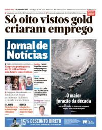 capa Jornal de Notícias de 7 setembro 2017
