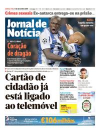 capa Jornal de Notícias de 7 dezembro 2017