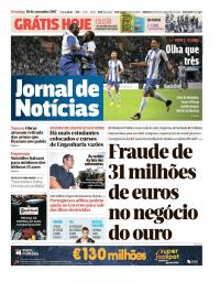 capa Jornal de Notícias de 10 setembro 2017