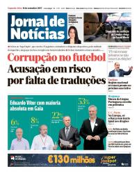 capa Jornal de Notícias de 11 setembro 2017