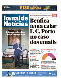 capa Jornal de Notícias de 12 setembro 2017