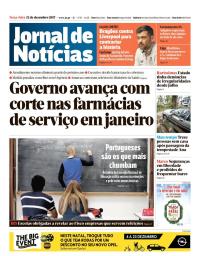 capa Jornal de Notícias de 12 dezembro 2017