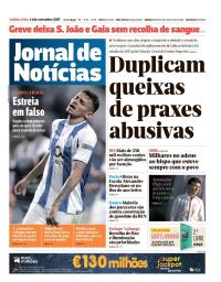 capa Jornal de Notícias de 14 setembro 2017