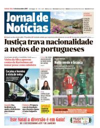 capa Jornal de Notícias de 14 dezembro 2017