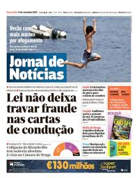 capa Jornal de Notícias de 15 setembro 2017