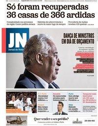 capa Jornal de Notícias de 15 outubro 2018