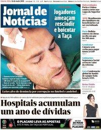 capa Jornal de Notícias de 16 maio 2018