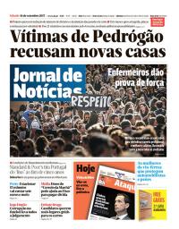 capa Jornal de Notícias de 16 setembro 2017