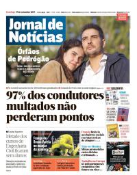 capa Jornal de Notícias de 17 setembro 2017