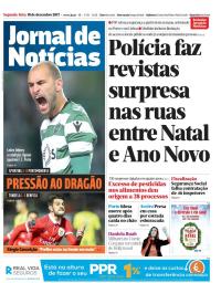 capa Jornal de Notícias de 18 dezembro 2017