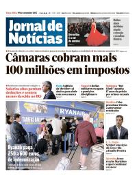 capa Jornal de Notícias de 19 setembro 2017