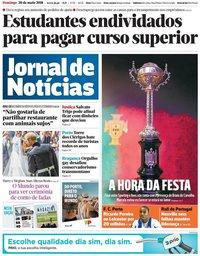 capa Jornal de Notícias de 20 maio 2018