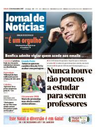 capa Jornal de Notícias de 23 dezembro 2017