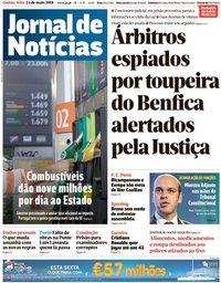 capa Jornal de Notícias de 24 maio 2018