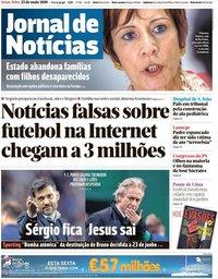 capa Jornal de Notícias de 25 maio 2018